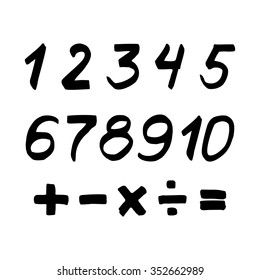 Set of numbers and mathematical signs. Black marker. Vector.