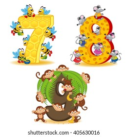 set of numbers with number of animals from 7 to 9 - vector illustration, eps