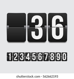 Set of numbers on a mechanical scoreboard. Vector template for your design.