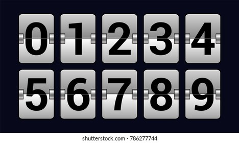 Set of numbers on a scoreboard - realistic vector isolated object on dark blue background. High quality clip art for presentations, banners, posters. Sports concept