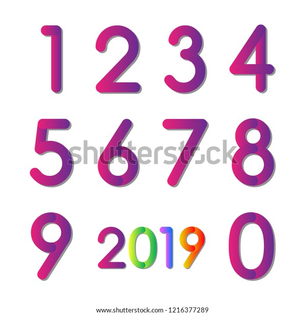 Set of Numbers on White Background. Vector illustration