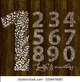 Set of numbers from one to ten, made with hand drawn leaves. Vector illustration, part of collection floral letters and numbers. Numbers and background are on separate layers