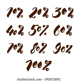 Set of numbers percent discount for sale handwritten inscription. Elegant lettering. Isolated on white background.