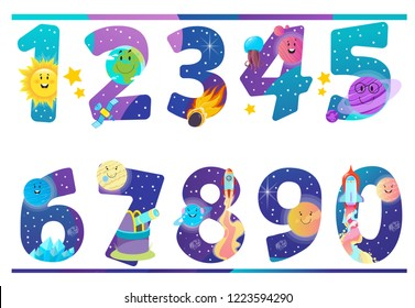 Set of numbers with space and planets of the solar system. Decorative element for design of children's posters, stickers and more.