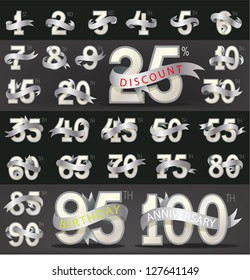 Set of numbers with stylish ribbon for birthday, anniversary, discount and other message.