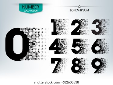 Set of numbers technology with explode spread character on the gray background vector