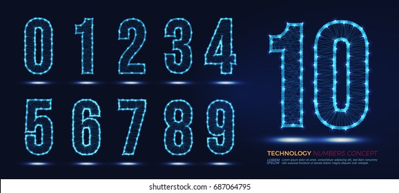 set of numbers technology network concept, numbers , vector numbers abstract polygonal template logo or icon Illustration