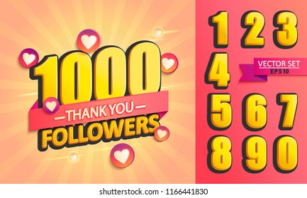 Set of numbers for Thanks followers design.Thank you followers congratulation card. Vector illustration for Social Networks. Web user or blogger celebrates a large number of subscribers.