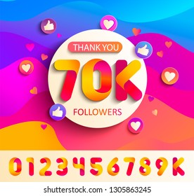 Set of numbers for Thanks followers template design.Thank you 70K followers congratulation card on wavy background with thumb up, hearts, likes.Vector for Social Networks,Web user,bloggers,subscribers