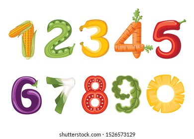 Set of numbers vegetables and fruit style food cartoon design flat vector illustration isolated on white background