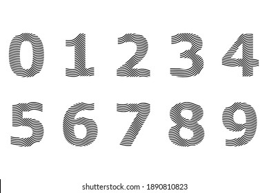Set of numbers wave text effect fingerprint design element vector