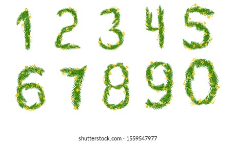 A set of numbers from zero to nine of pine branches decorated with garlands. Vector illustration for your design.