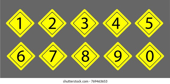 set of the numerals in the yellow rhombus frames on the yellow background