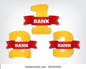 A set of numeric ranks with red ribbon on grey background. Vector illustration