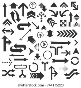 Set of numerous black arrows and arrowheads