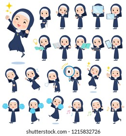 A set of Nun women with digital equipment such as smartphones.There are actions that express emotions.It's vector art so it's easy to edit.