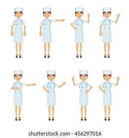 Set of nurse characters showing different hand gestures. Cheerful nurse showing thumb up gesture, pointing up, waving, greeting, victory hand. Flat style vector illustration