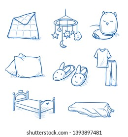 Set of nursery objects as bed, cushion, pyjama, bed sheet, duvet, bunny slippers, night light and baby mobile. Hand drawn blue line art cartoon vector illustration.
