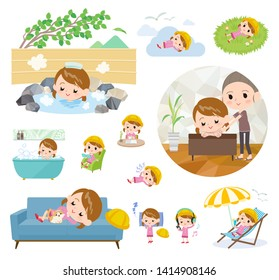 A set of Nursery school girl about relaxing.There are actions such as vacation and stress relief.It's vector art so it's easy to edit.