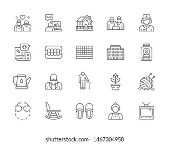 Set of Nursing Home Line Icons. Pensioners, Elderly Couple, Seniors, Country House, Health Worker, Dental Prosthesis, Hospital, Furniture, Tv and more. Pack of 48x48 Pixel Icons
