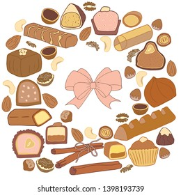 Set of nuts, cocoa and chocolate in bright colors. Includes chokolate bar, pieces of milk chocolate, sweets with filling, cinnamon and bow. Isolated on white for scrapbooking, design and textiles.