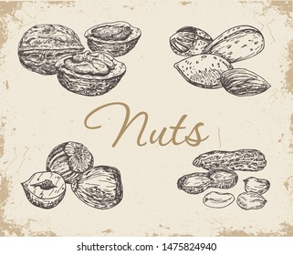 Set nuts on a vintage background. Walnut, peanut, almonds and hazelnut. Collection of healthy natural food.