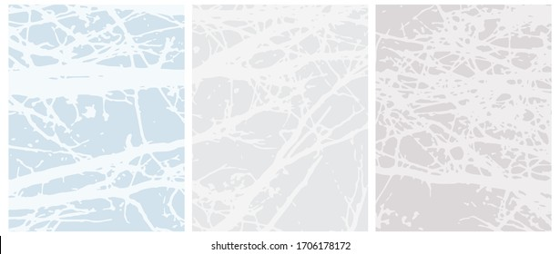 Set o 3 Abstract Geometric Layouts. Irregular Hand Drawn Scribbles on Blue and Light Gray Backgrounds. Funny Simple Creative Design. Infantile Style Stripes and Mesh Graphic.