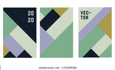 Set o flat geometric cover vector template design. Simple shapes with green, blue colors