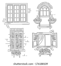 Set o retro windows isolated on white background. Hand drawing illustration  sc 1 st  Shutterstock & Window Drawing Stock Images Royalty-Free Images \u0026 Vectors ...