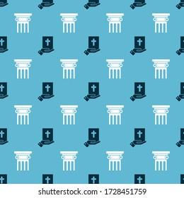 Set Oath on the Holy Bible and Law pillar on seamless pattern. Vector