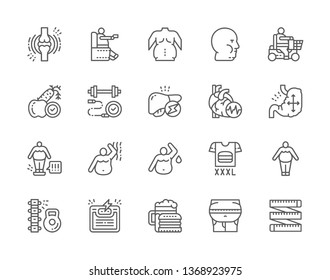 Set of Obesity and Overweight Line Icons. Fat Face, Junk Food, Diet, Visceral Fat, Joint Pain, Thick Sides, Heart Attack, Distended Stomach and more. Pack of 48x48 Pixel Icons