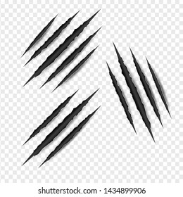 Set object of Claws scratches isolated on transparent white background. Creative surface layer paper craft and cut style.Scary laceration danger.Texture symbol damage monster.vector illustration