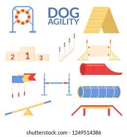 Set object of dog agility sport. Training equipment. Vector flat illustrastion