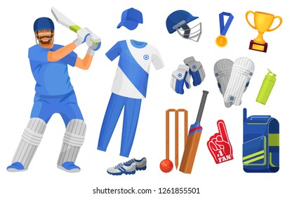Set of objects and accessories for cricket sport. Classic uniform, cricket characters equipped players, awards, trophies, equipment protection, attributes, bit, ball and goal. Vector illustration.