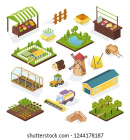 Set of objects agriculture, farm, vehicles, buildings greenhouse and mill, rural landscape. Store of food, market of healthy garden products, farm local market, selling organic food. Isometric vector.