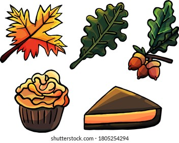 Set of objects in autumn style, cartoon style, maple, oak, acorn, leaves, fall, wilting, orange, cupcake, pumpkin pie, wilting, nature, back to school, for kids, isolated on white background, joy, pie