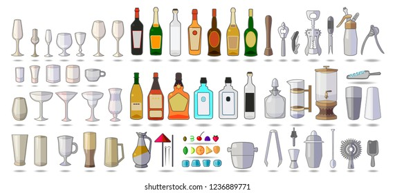 Set of objects bar equipment, Alcohol, tools, Tableware, icons isolated on white. Flat vector. Alcohol color icons set with drink bottles and glass shots isolated vector illustration