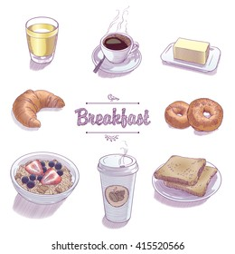 Set of objects for breakfast 1