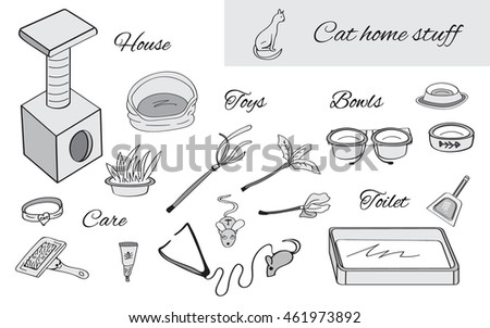 Set Objects Cat Care House Stock Vector Royalty Free 461973892. Set Of Objects For Cat Care House Toilet Bowls Toys Elements. Wiring. Diagram Of A Cat House At Scoala.co