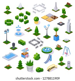 Set of objects city park with architecture, landscape garden isometric vector. Trees, fences, monuments, fountain, pond, plants flowers, children's playground, recreation park, city constructor