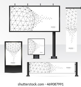 Set objects of outdoor advertising. Template for branding on white background. Mockup billboard, city light, horizontal and vertical banners. Vector illustration with geometric polygonal spheres.