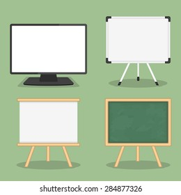 Set of objects for presentation - computer monitor, whiteboard and blackboard, flat design, vector eps10 illustration