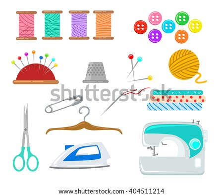 Set Objects Sewing Handicraft Sewing Tools Stock Vector Royalty
