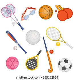 Set of objects of sports equipment