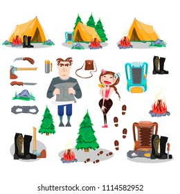 Set of objects Travel, Adventure, Trekking, Camping, Tourists, Climbers, Forest, Tent, Bonfire, Boots, Spruce, Backpack, Knife, Ax, Rope, Footprints.  Colorful hand drawn vector stock illustration.