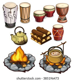 A set of objects for travel and ethnic percussion instruments. Vector illustration.