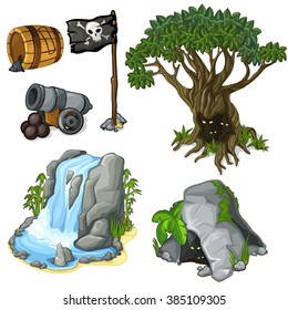 The set of objects of wildlife and attributes of pirate activity. Vector illustration.