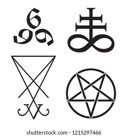 Set of occult symbols Leviathan Cross, pentagram, Lucifer sigil and 666 the number of the beast hand drawn black and white isolated vector illustration. Blackwork, flash tattoo or print design