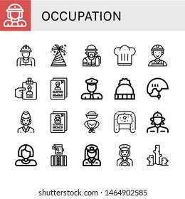 Set of occupation icons such as Firewoman, Worker, Hat, Fireman, Chef hat, Resume, Policeman, Helmet, Air hostess, Watchmaker, Policewoman, Taxi driver, Deforestation , occupation