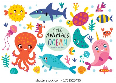 Set with ocean creatures. Vector isolated illustrations on a white background.